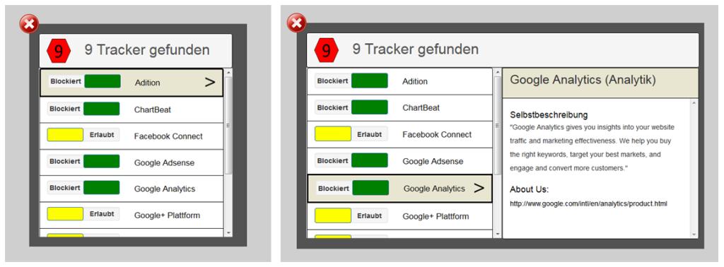Interaktionsprototyp - 2 Bilder. Linkes Bild: Liste in der die vorhandene Tracker angezeigt werden, plus die Möglichkeit diese Tracker über einen Schalter zu blockieren bzw. zu erlauben. Rechtes Bild: Liste in der die vorhandene Tracker angezeigt werden, plus eine ausgeklapptes Infofeld, welches weiterführende Informationen über den ausgewählten Tracker anzeigt.